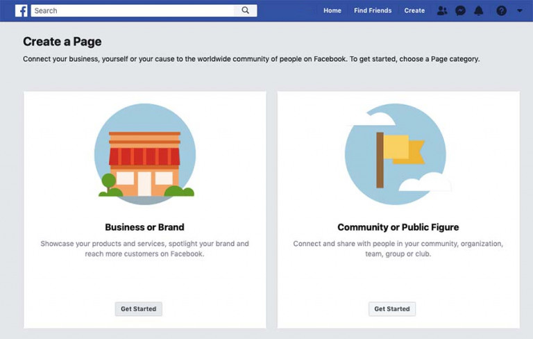 create a page facebook